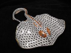 Herend Hand Painted Porcelain Figurine Stingray Black Fishnet Gold Accents.