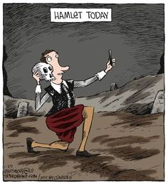 Speed Bump by Dave Coverly for January 29 2015 - Funny Selfies - Funny Selfies images - - modern hamlet The post Speed Bump by Dave Coverly for January 29 2015 appeared first on Gag Dad. English Teacher Humor, Library Humor, Ap Literature, Speed Bump, Humor Grafico, William Shakespeare, Shakespeare Funny, Albert Camus, Virginia Woolf