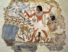 Nebamun hunting with his wife and child