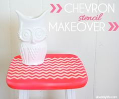 A Bubbly Life: Chevron Stencil Furniture Makeover I have two folding tv trays that I could do something like this with.....much better looking than the plain ole black ones we've got!