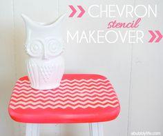 A Bubbly Life: Chevron Stencil Furniture Makeover DIY - Handmade Charlotte Stencils #craft #diy