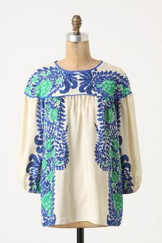 Mako Peasant Blouse - stamped trellis of blooms,  By Anna Sui for Anthropologie.