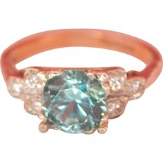Beautiful 18K Gold Platinum 1.25 Blue Zircon Diamond Ring