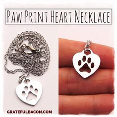 Loving on this Paw Print Heart Necklace that is **ON SALE TODAY ONLY!** Only $6!! Shop Now ➡️ GratefulBacon.com/products/paw-print-necklace-1