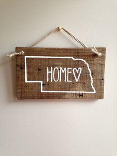 Painted Nebraska Sign by knotsNebraska on Etsy https://www.etsy.com/listing/250724743/painted-nebraska-sign