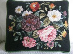 Vintage Handmade Needlepoint Pillow Floral Black w/ Green Satin Back & Zipper