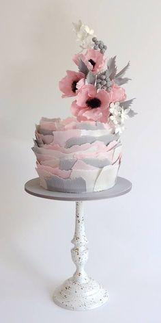 Pink, Gray, White Cake