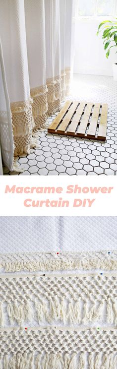 Macrame Shower Curtain DIY 2019 Macrame shower curtain DIY (no-sew option!) The post Macrame Shower Curtain DIY 2019 appeared first on Curtains Diy. Diy Bathroom, Bathroom Curtains, Bathrooms, Home Crafts, Diy Home Decor, Small Craft Rooms, No Sew Curtains, Burlap Curtains, Diy Porch