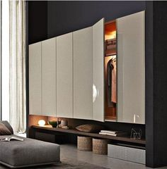 Lacquered wardrobe with drawers GLISS-UP By Molteni&C design Patricia Urquiola Master Bedroom Wardrobe Designs, Sliding Door Wardrobe Designs, Wardrobe Interior Design, Wardrobe Room, Bedroom Cupboard Designs, Bedroom Furniture Design, Closet Designs, Wardrobes For Bedrooms, Modular Wardrobes