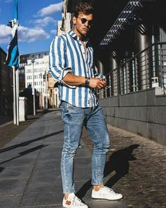 34 Best Casual Outfit Idea for Men In Spring 2019 - Men's Fashion Ideas - Outfits Hombre Casual, Simple Casual Outfits, Men Casual, Striped Outfits, Casual Winter, Comfy Casual, Stylish Men, Casual Wear, Trendy Outfits