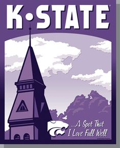 K-State Travel Poster - Purple - Click through link to purchase online.  (Also available as a full color version.)