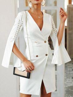 Shop Bodycon Solid Lace-Up Slit Sleeve Blazer Bodycon Dress Tweed Dress, Blazer Dress, Belted Dress, Sleevless Blazer, Estilo Fashion, Look Fashion, Ideias Fashion, Womens Fashion, Latest Fashion