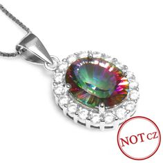 2.5ct Rainbow Fire Mystic Topaz Pendant Necklace Only $29.99 => Save up to 60% and Free Shipping => Order Now! #Bracelets #Mystic Topaz #Earrings #Clip Earrings #Emerald #Necklaces #Rings #Stud Earrings