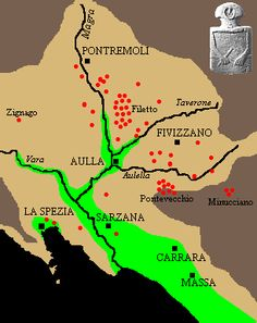 Country and Environment. Map of the stela-statue discovery sites     The Lunigiana is a closed territory at the border between Tuscany and Liguria. Its boundaries are the Tirrenian See (SW), The Apuane Alps (SE) and the Appennine Mountains (N). Most of the prehistoric monuments were found in the inner Lunigiana, just around the junction of the rivers Magra, Taverone and Aulella, while few stelae were discovered near the coast and only one (Zignago) in the Vara valley.