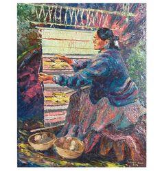 """Western Artist Chet Culp, """"Navajo Rug Weaver"""" Oil Painting on Masonite, CA 1976 #884"""