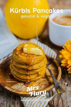Gesunde Kürbis Pancakes - vegan & super luftig - Mrs Flury Sweet Bakery, Comfort Food, Breakfast Recipes, Sweet Tooth, Clean Eating, Sugar, Candy, Baking, Healthy