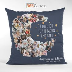'I Love You To The Moon And Back' photo collage pillow is a stylish gift item for your partner on wedding anniversary, Valentine's Day, or any other special occasion.  On this photo pillow, you can upload names and the important date, say your wedding day or the day you first met.  And the highlight of the pillow is the crescent moon photo collage. Simply upload photos that contain memories and moments in your relationship, and have fun creating your own photo pillow!