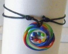 bracelet fantaisie femme fille ado spirale tourbillon arc-en-ciel multicolore