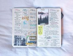 Inspiration for keeping a travel journal. Ideas and techniques for art journaling, scrapbooking, or keeping a sketchbook while traveling Bullet Journal Journaling, Planner Bullet Journal, Journal Diary, Bullet Journal Layout, Photo Journal, Scrapbook Journal, Bullet Journal Inspiration, Journal Notebook, Journal Pages