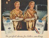 """1955 Tareyton Cigarettes """"The Tareyton Twosome Twins"""" Vintage Ad"""