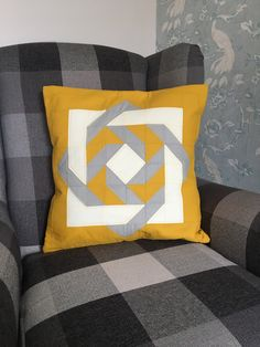 Excited to share the latest addition to my shop: Geometric quilted cushion cover