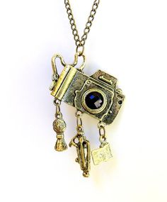 Vintage camera necklace Photographer gift by ForeverSignature