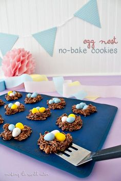 Nothing cuter for Easter than some no bake egg nest cookies. Whip up a quick batch and add your favorite candy eggs for a treat sure to please!
