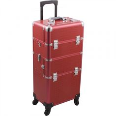 Hiker Rolling Makeup Case with Easy-Slide and Extendable Trays, Includes Removable Tray and Extra Lid, Crocodile Texture, Red * You can find out more details at the link of the image. (This is an affiliate link) Rolling Makeup Case, Steamer Trunk, Train Case, Cosmetic Case, Beauty Shop, Makeup Cosmetics, Crocodile, Rolls, Texture
