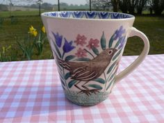 Bell Pottery Spongeware Blackbird tapered mug