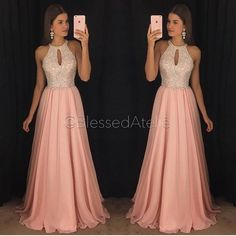 Gorgeous Pink Chiffon Prom Dresses A-Line Halter Major Beaded Ruffled Pleated Evening Formal Gowns Long Chiffon Dress for Party Wear - Best Tutorial and Ideas Cute Prom Dresses, Prom Dresses For Sale, Plus Size Prom Dresses, Prom Dresses With Sleeves, Trendy Dresses, Ball Dresses, Cheap Dresses, Homecoming Dresses, Evening Dresses