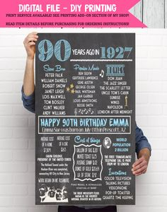 1927: 90th Decor Personalized Birthday Chalkboard Sign -**Digital File** DIY Printing (1927-01) by EmmaSueBowtique on Etsy