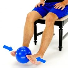 Exercise of the week for March 4th: Isometric Bilateral Ankle Inversion with Ball: Place a ball between your feet as shown. Next, apply some pressure into the ball with the front and inner aspect of your feet and hold.