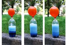 Hot Air Balloon Bottle: With a little vinegar and baking soda you can teach your kids about carbonic acid, the gas that fills the balloon. #kidscience