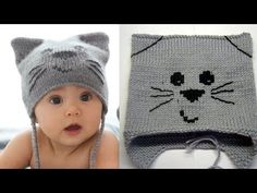Doing knitting according to a cat knit hat pattern is easy a fo . Baby Hats Knitting, Knitting For Kids, Crochet For Kids, Loom Knitting, Knitted Hats, Crochet Beanie, Knit Crochet, Crochet Hats, Baby Hat Patterns