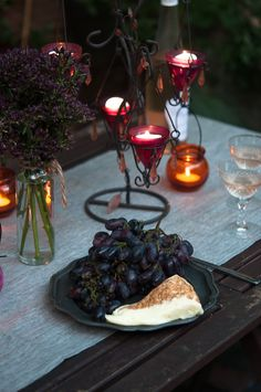 Calvados crusted camembert with grapes