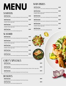 Design created with PosterMyWall Ppt Design, Menue Design, Food Menu Design, Design Flyers, Design Ideas, Food Menu Template, Restaurant Menu Template, Restaurant Menu Design, Restaurant Branding