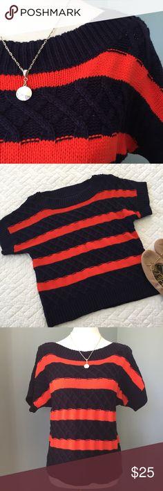 Anthropologie Boatneck Sweater Super cute striped Anthropologie sweater - navy/orange - cotton blend - super soft - EUC Anthropologie Tops