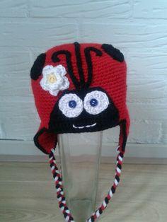 Lieveheerbeestjes muts Crochet Baby Hats, Diy, Bricolage, Do It Yourself, Homemade, Diys, Crafting