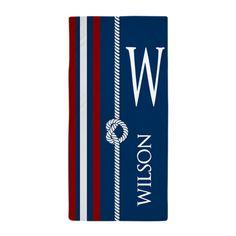 Navy Nautical Rope Stripes Monogram Beach Towel