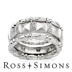 Set of Three .10 ct. t.w. Diamond Rings In Sterling Silver sterling silver ring settings