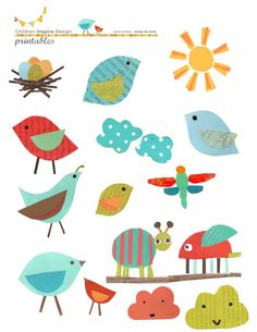 Cute little birdies! Possible appliqué design for a little kid or a baby blanket.
