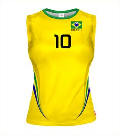 BRAZIL Sleeveless Volleyball Jersey for Women With Custom Name and Number
