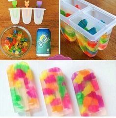 popsicles and gummy bears oh my! This looks like a fun yummy snack to make. plus they look so cool. I've always wanted to make my own popsicle.