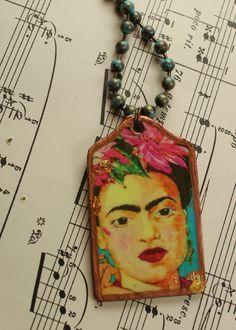 Frida Kahlo Brass Tag Pendant Necklace Cottage Chic Bohemian Necklace by UrbanGypsyIndy on Etsy