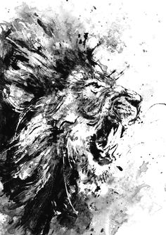 Lion, Original Acrylic Painting, Black and White Art, Wild Life Art, Room Decor, Angry Lion, Art Gift, Abstract Lion Painting, Lion Roar by BlackraptorArt on Etsy https://www.etsy.com/listing/248383539/lion-original-acrylic-painting-black-and