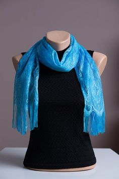 Scarf, Blue Fringes Scarf, Summer Scarf,Spring Scarf,Lightweight Shawl,Scarves For Women,Fashion Accessories,Womens Scarves,Gift For Her