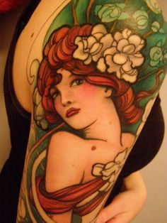 Gorgeous detail on this Beautiful Mucha tattoo!  I am looking for a Tattoo artist who has this kind of skill with a quirky sense of humor