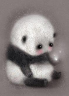 A preciously sweet panda bear by artist Lisa Evans