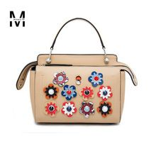 2016 Hot Fashion New Flower Real Genuine Leather Bags Handbags For Women  Floral Ladies Casual Tote ca049c5dd831d