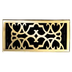 "This polished brass finish solid brass floor register heat vent cover with a victorian scroll design fits 6"" x 12"" x 2"" duct openings and adds the perfect accent to your home decor."